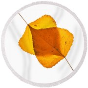 Two Backlit Cottonwood Leaves In Autumn On White Round Beach Towel