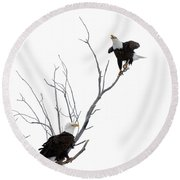 Two Bald Eagles Round Beach Towel