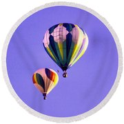 Two Balloons In The Clear Blue Sky  Round Beach Towel