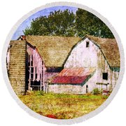 Two Barns And A Silo Round Beach Towel