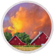 Two Barns At Sunset Round Beach Towel