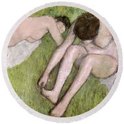 Two Bathers On The Grass Round Beach Towel