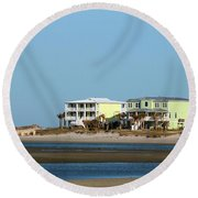 Two Beach Houses Round Beach Towel