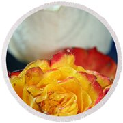 Two Beautiful Roses Round Beach Towel