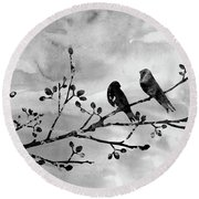 Two Birds-black Round Beach Towel