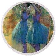 Two Blue Dancers Round Beach Towel by Edgar Degas