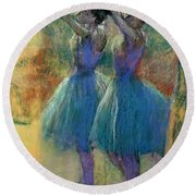Two Blue Dancers Round Beach Towel