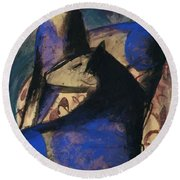 Two Blue Horses 1913 Round Beach Towel