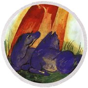 Two Blue Horses In Front Of A Red Roc 1913 Round Beach Towel