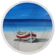 Two Boats Round Beach Towel