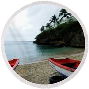 Two Boats, Island Of Curacao Round Beach Towel