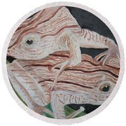 Two Brown Striped Frogs Round Beach Towel