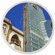 Two Buildings.. Round Beach Towel