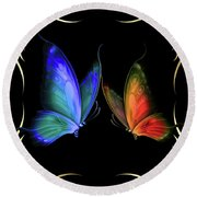 Two Butterflys -4 Round Beach Towel