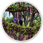 Two Buzzards In A Tree Round Beach Towel