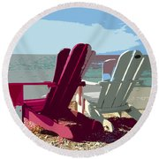 Two By The Shore Round Beach Towel