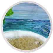 Two By Two At Midnight Blue Round Beach Towel