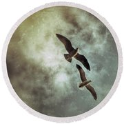 Two By Two They Flew Round Beach Towel