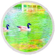 Two Canadian Geese In The Water Round Beach Towel