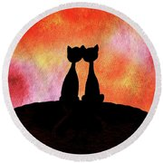 Two Cats And Sunset Silhouette Round Beach Towel