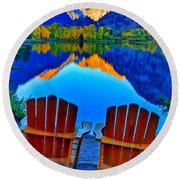 Two Chairs In Paradise Round Beach Towel
