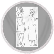 Two Characters Round Beach Towel