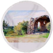 Two Civilizations. Round Beach Towel