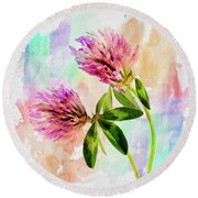 Two Clover Flowers With Pastel Shades. Round Beach Towel