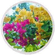 Two Color Flowers Round Beach Towel
