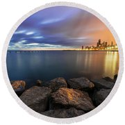 Two-colored Sky During The Sunrise Round Beach Towel