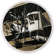 Two Crewmen Amid The Wires And Struts Of An Ilia Mourometz II Bomber Round Beach Towel