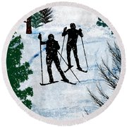 Two Cross Country Skiers In Snow Squall Round Beach Towel