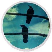 Two Crows Blue Lomo Sky Round Beach Towel