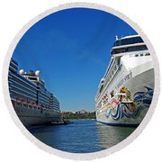 Two Cruise Ships Round Beach Towel