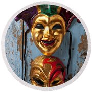 Two Decortive Masks Round Beach Towel