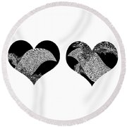 Two Dolphin Hearts Swimming Round Beach Towel