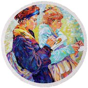 Two Drawing Ladies Round Beach Towel