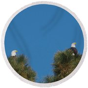 Two Eagles In Two Tree Tops Round Beach Towel