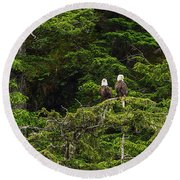 Two Eagles Perched Painterly Round Beach Towel