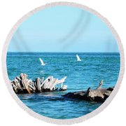 Two Egrets Round Beach Towel