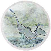 Two Egrets In Water I Glow Brilliant On White II Round Beach Towel