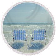 Two Empty Beach Chairs Round Beach Towel