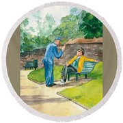 Two Englishmen In Conversation  Round Beach Towel