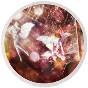 Two Fairies In The Web Round Beach Towel