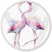 Two Flamingos Watercolor Famingo Love Round Beach Towel