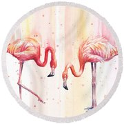 Two Flamingos Watercolor Round Beach Towel