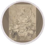 Two Floral Still Lifes Round Beach Towel