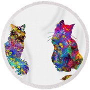Two Fluffy Cats-colorful Round Beach Towel