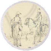 Two French Cavalrymen On Horseback Round Beach Towel