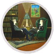 Two Gentlemen Sitting In Wingback Chairs At Private Club Round Beach Towel